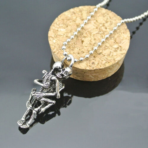 Infinity Esqueleto Colgante Cadena Collar de acero pareja de amantes Calaveras Halloween
