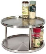 RSVP Lazy Susan 2 Tier Turntable Pantry Organizer Brushed Stainless Steel  TURN 2