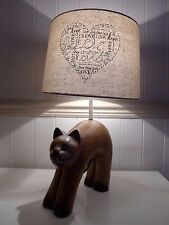 Vintage wooden cat statue table lamp - unique design