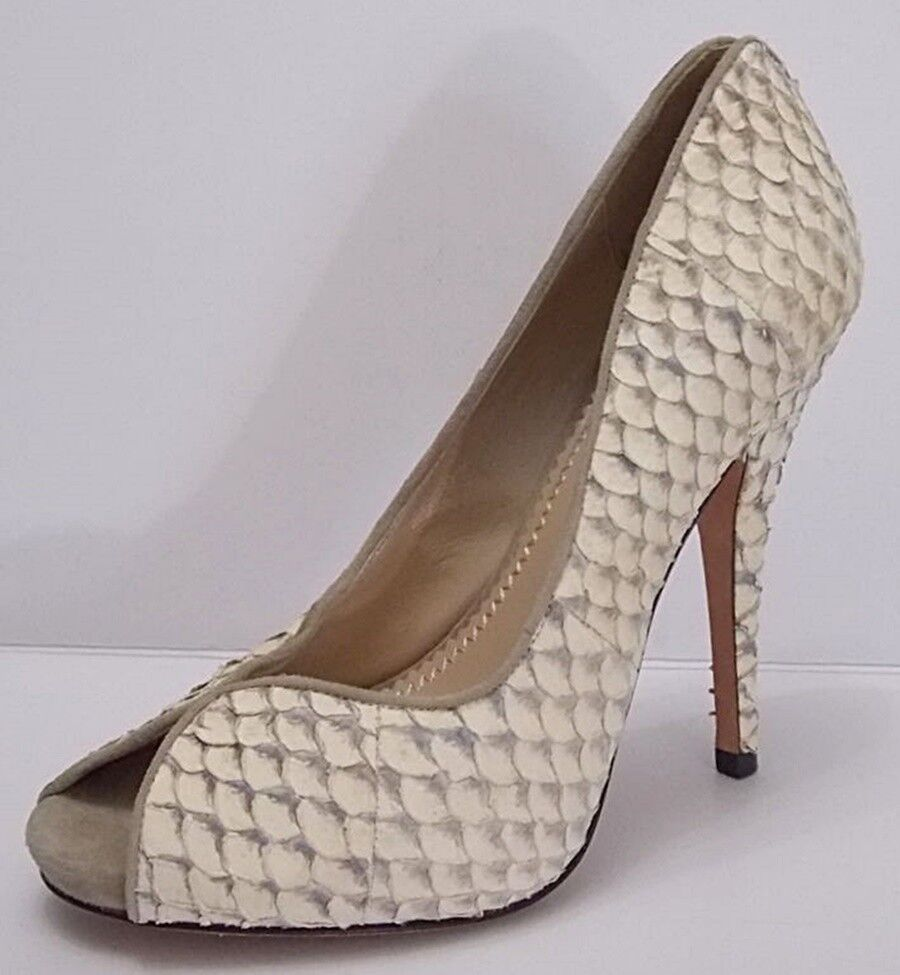 Jean-Michel Cazabat Pumps Peep Toe Kari Fish Scale Leather Heels shoes 7.5