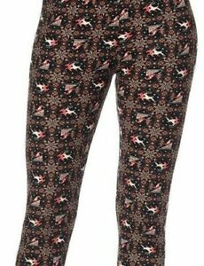 One Size OS Fits Sizes 2-12 Red Black Winter Reindeer Leggings