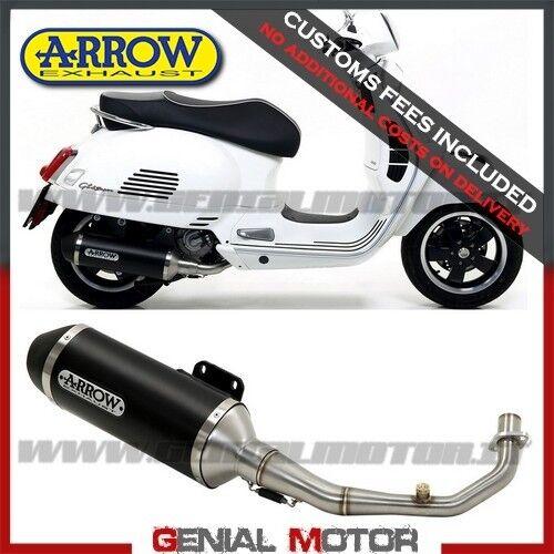53525ANN+53072MI Full Exhaust Arrow Urban Aluminium Black Vespa Gts 300 2017  2019