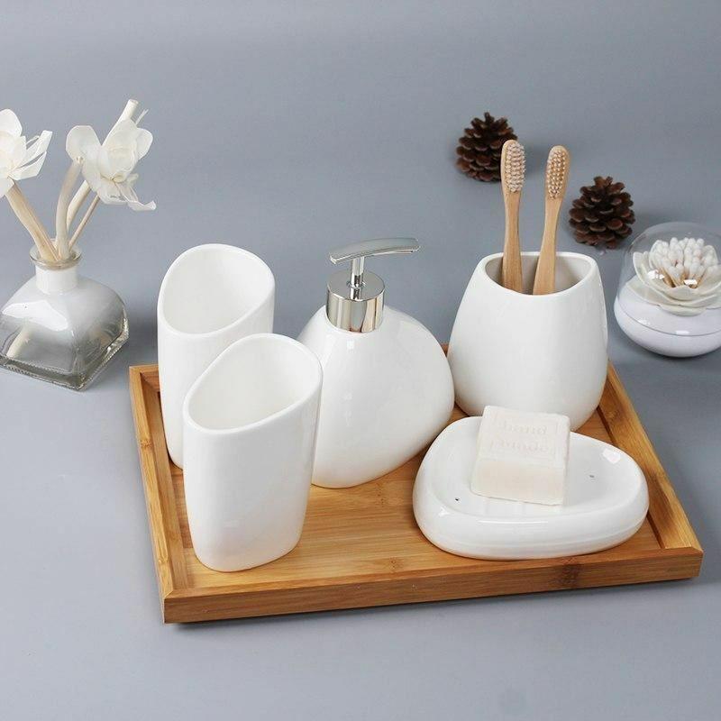 Six-piece Set ceramics Bathroom Accessories Set Soap Dispenser Toothbrush Holder