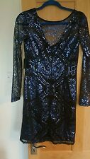 DALIA SIZE 6 BLUE AND BLACK SEQUIN DRESS NEW WITH TAGS