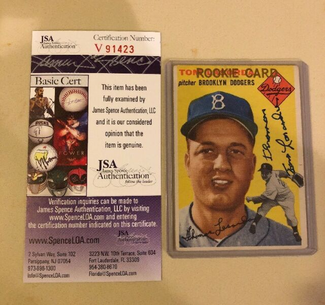 """1954 Topps #132 Tommy Lasorda Dodgers RC Signed AUTO """"Thomas"""" Extremely Rare JSA"""
