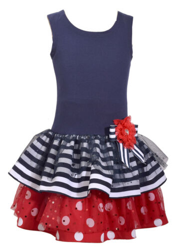 Bonnie Jean Girls 4th July American Flag Patriotic Stars Red Blue Dress 2T-6X