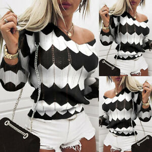 Women-039-s-Striped-Long-Sleeve-Sweater-Pullover-Ladies-Knitted-Loose-Jumper-Tops