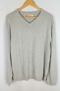 Levi Strauss & Co Herren Pullover Casual Slim Fit grau Baumwolle V Ausschnitt Größe XL