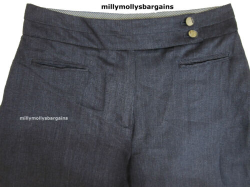 New Womens Marks /& Spencer Per Una Blue Linen Wide Leg Trousers Size 14 12 10 8