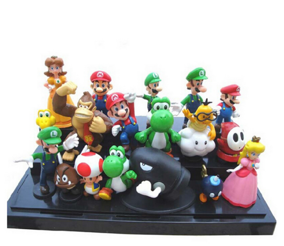 18 pcs Super Mario Brothers Bros Action Figure Cake Toppers Toys Playset Gift