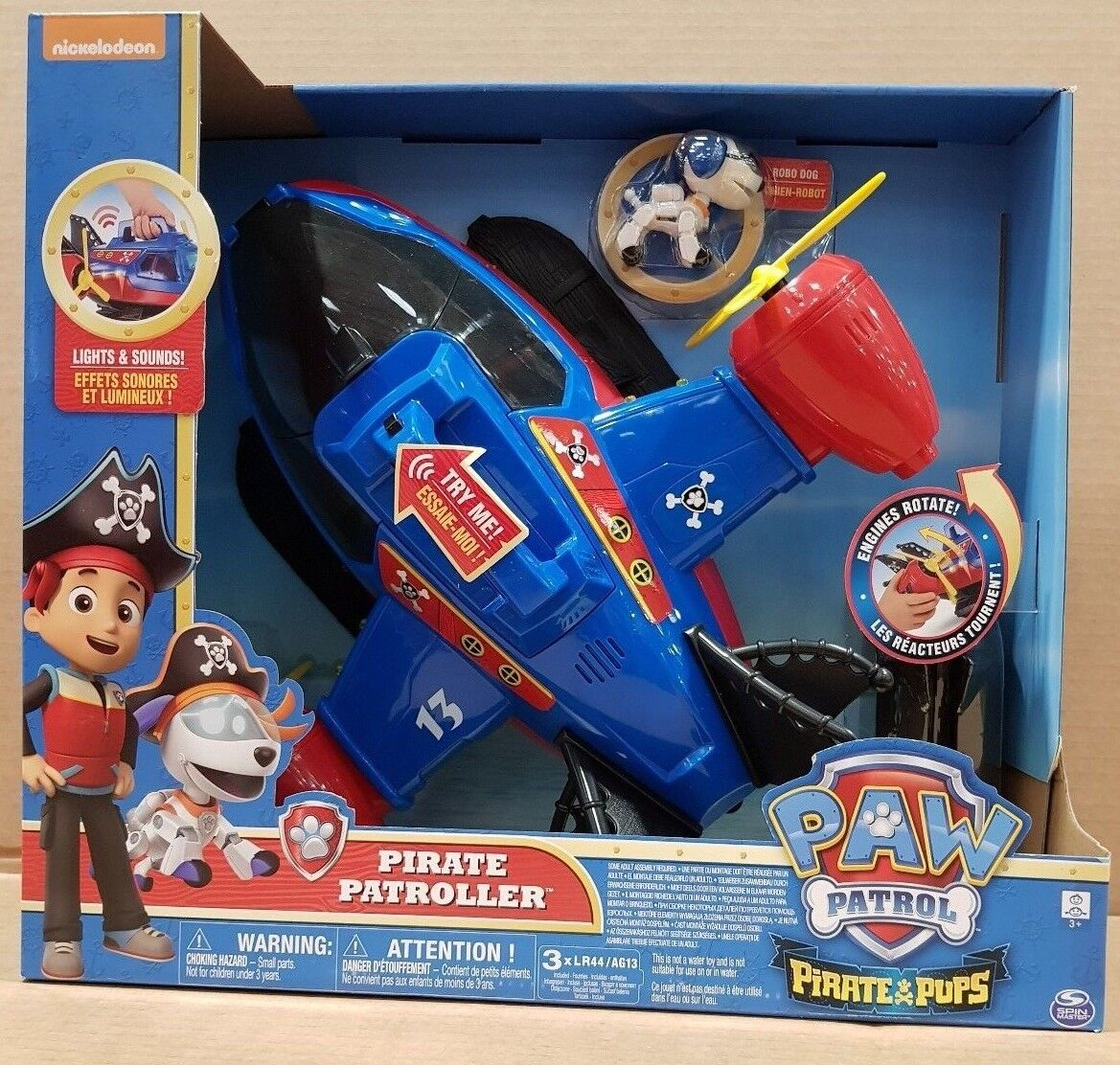 Paw Patrol Pirate Pups Pirate Patroller, Helicopter Plane Kids Boys Toy Playset