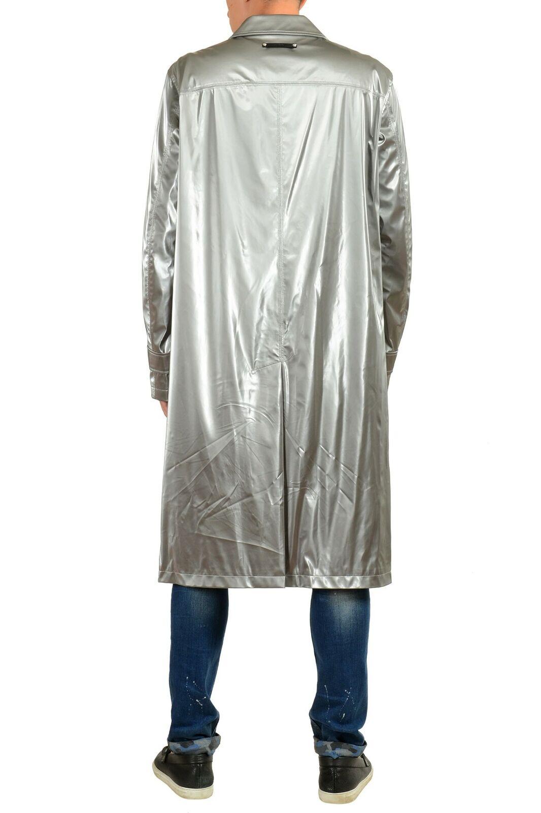 Versace Herren Metallisch Silber Geknöpft Trenchcoat Us M It It It 50     | Flagship-Store  c87aef