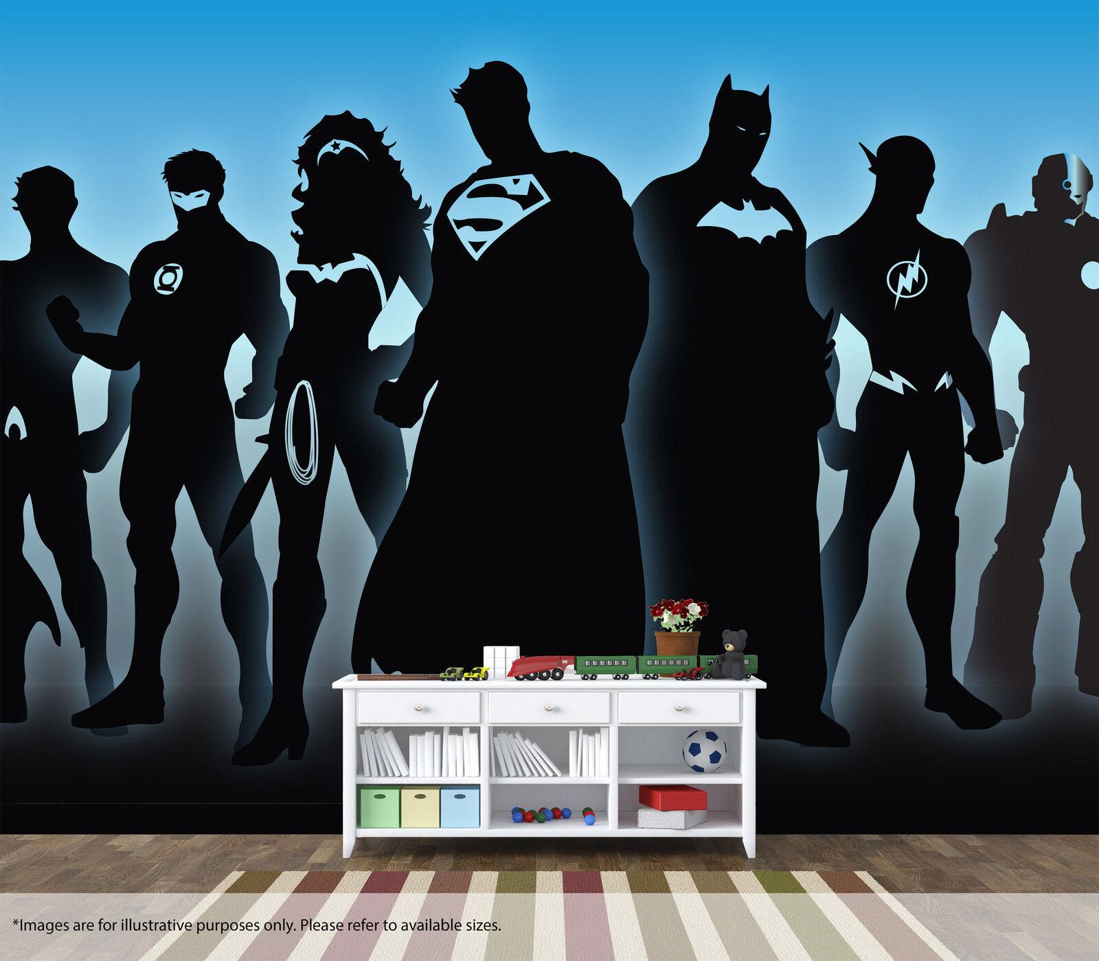 Justice League Wall Mural Art Quality Pastable Wallpaper DC Batman Superman Blau