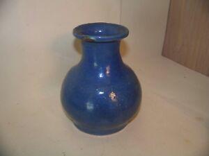"""Vintage Signed J.M.R. Blue Art POTTERY VASE, Salt glaze, Hand Turned 5 """" X 4"""""""