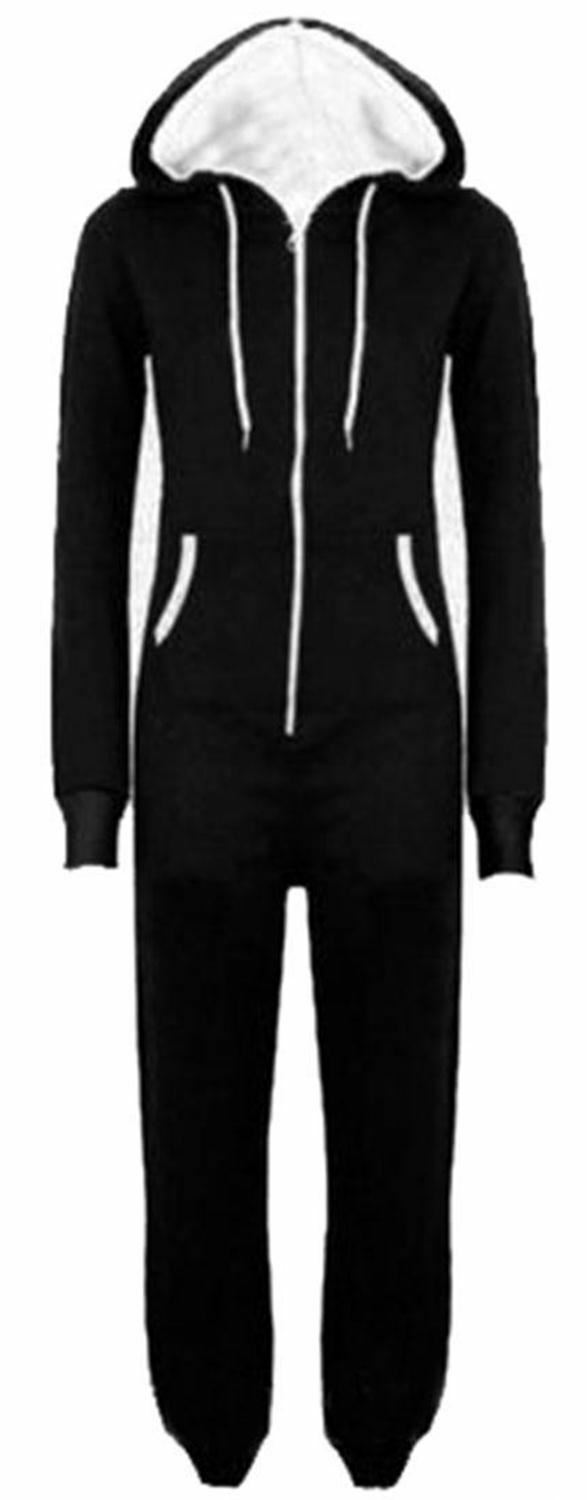 New Unisex Mens Womens All In One Hooded Jumpsuits M-3XL