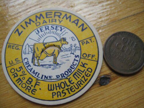 Columbiana County,Salem,Ohio milk cap,Zimmerman Jersey Creamline w//Gold Full Cow