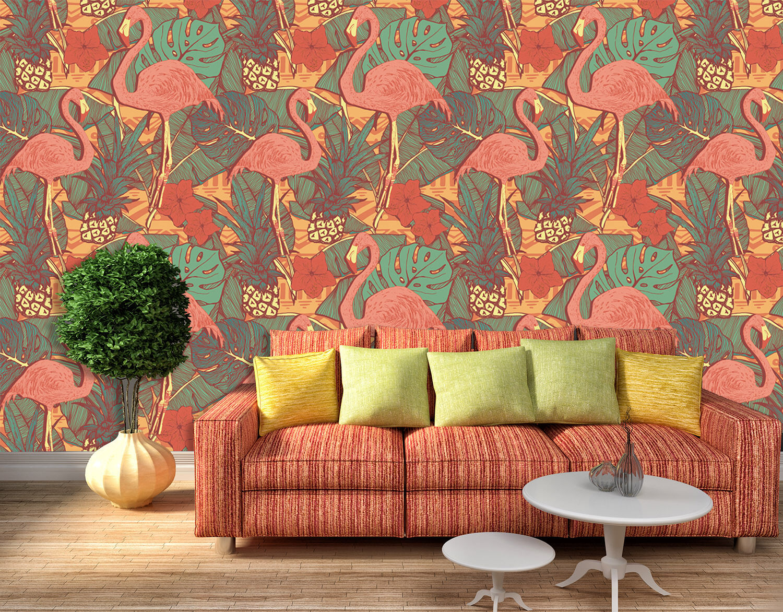 3D Leaves Egrets Painted 83 Wallpaper Mural Paper Wall Print Wallpaper Murals UK