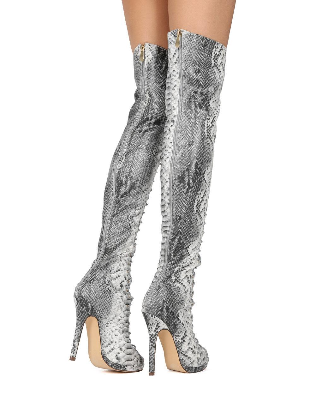 New Women Liliana Opus-1A Python PU OTK Peep Toe Lace Up Stiletto Boot