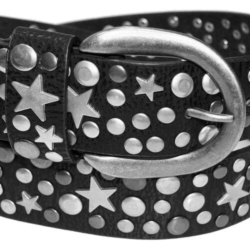 Zakatte Femmes Rivets Ceinture en cuir synthétique ceinturée avec rivets étoiles bs107