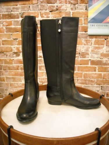 Isaac Mizrahi Toby Black Leather Riding Boots New