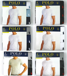 Details about Polo Ralph Lauren Classic/Slim fit Crew/V-neck T shirt 3pack wicking