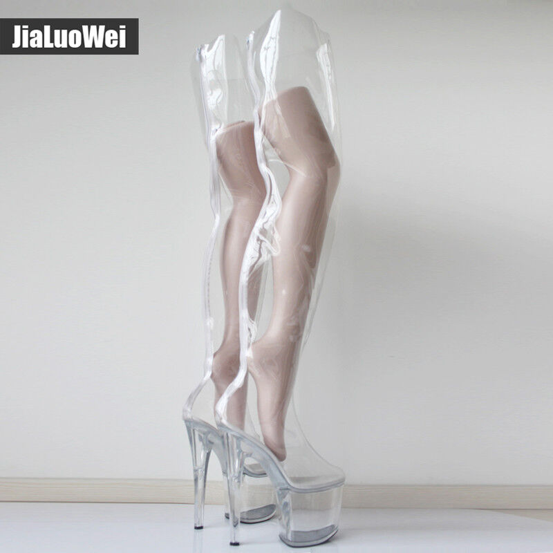 20cm Super Super Super High Heels Platform Clear Zip Over-Knee High Boots Nightclub Fashion 0c1c79