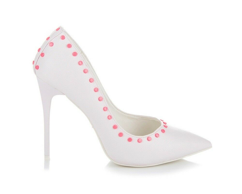 Womens Vices Ladies Court High Heels Pointed Toe Studded Stiletto White shoes