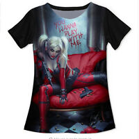 New Fashion Womens/Mens  Harley Quinn Joker Funny 3D Print Casual T-Shirt UK656