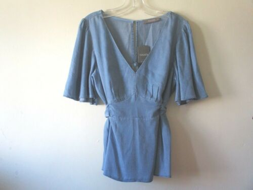 Angelica Nuovo Angel Soft Camicetta Sleeves Sz 10 Chambray Top Oasis Blue Denim Cravatte Ipgnf