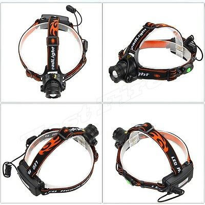 5000LM CREE XML XM-L T6 LED Zoomable Rechargeable Headlamp Headlight Head Torch