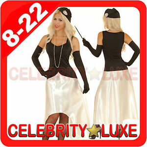 Details about New Ladies Black 1920s 20s Gatsby Girl Flapper Burlesque  Fancy Dress Up Costume