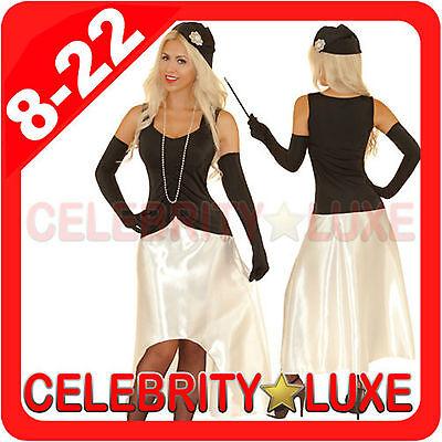 New Ladies Black 1920s 20s Gatsby Girl Flapper Burlesque Fancy Dress Up Costume