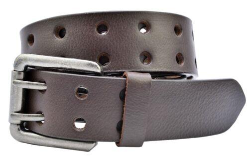 TheBeltShoppe.com Full Grain 1-Piece Buffalo Leather 2-Hole Jeans Belt Brown