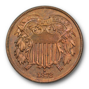 1872-2C-Proof-Two-Cent-Piece-Uncirculated-PR-Red-Brown-Key-Date-Low-Mintage