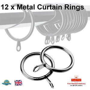 12-X-35mm-de-diametro-grande-cromado-de-metal-pesado-deber-argollas-para-cortinas-Ganchos-de-anillo