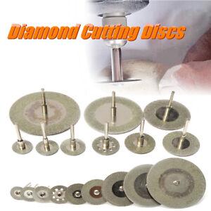 10PCS-Diamant-Coupe-Disque-Roue-Lame-Scie-2x-Mandrin-Pr-Dremel-Rotatif-Outil