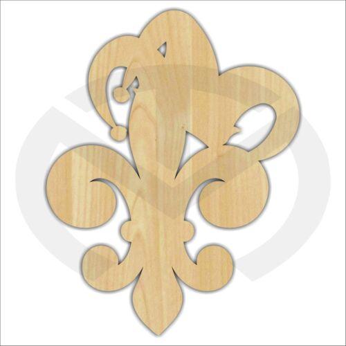 Unfinished Wood Fleur de Lis with Jester Hat Laser Cutout Mardi Gras Door