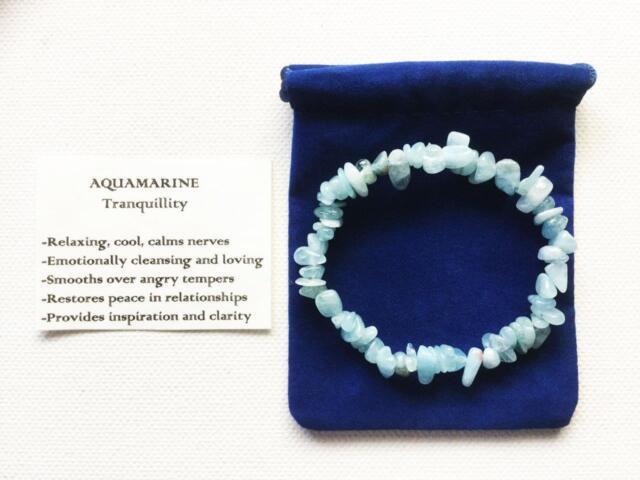 Aquamarine Bracelet Gemstone Crystal Chip Beads Stretch 'BUY 3 GET 1 FREE'