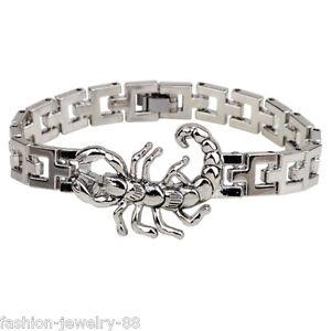 Mens-Silver-Stainless-Steel-Scorpion-Bracelet-Punk-Cuff-Wristband-Clasp-Bangle