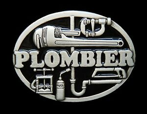 Plombier-Plomberie-French-Plumber-Tools-Occupation-Belt-Buckle-Boucle-Ceinture