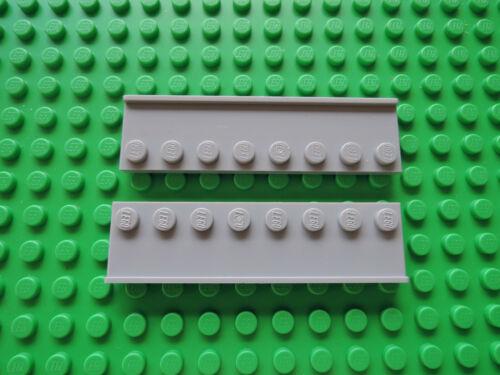 Lego 2 x Platte mit Führungsschiene Führungsbahn 30586  2x8  neu hellgrau