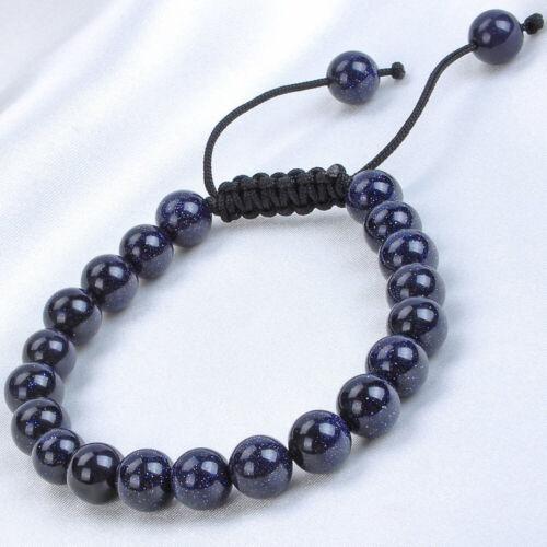 Handmade 8 mm NATURAL Blue Sand Stone gamstone Perles Ajustable Bracelet