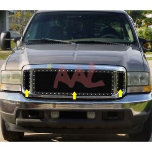 Aal 90 04 Ford Excursion Upper Black Steel Wire Mesh Grille With Silver Rivets Ebay