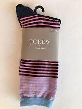 J. Crew BRAND NEW Navy Blue, Black, Pink Microstripe Trouser Socks Cotton Blend