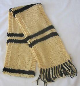 Hand Knit Harry Potter Scarf Hufflepuff School Colors Scarf Hand