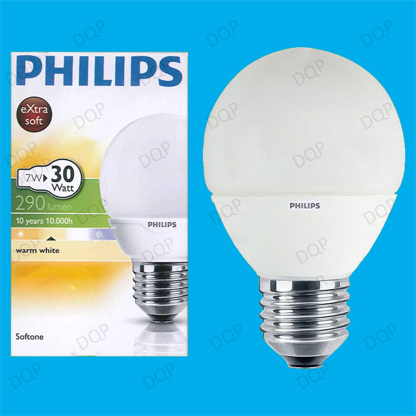 25 X 7w Philips Cfl bajo Consumo Larga Duración Mini Globo Es E27 Bombilla
