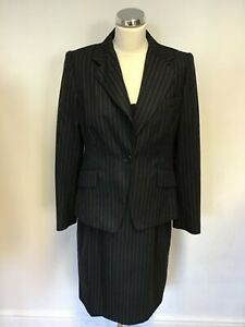 Suit Business Dark Dress Wool Size 14 amp; Pinstripe Pencil Jacket Grey Bennett Lk vxqUgg