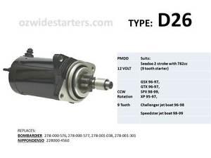 NEW SeaDoo GSX GTX SPX XP 782 cc STARTER 96 97 98 99 278-001-038 278-001-301