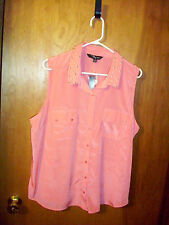 Riley + James Woman Sleeveless Top  Button Up S/L Stud Collar Spring 2013 1X