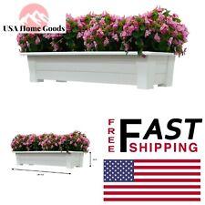 In. x 15 White Resin Planter Deck Flower Garden Patio Gardening Pot 36 In